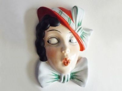 Royal Dux 'Google Eyed Girl' Art Deco Wall Mask #15178 c1930 (Sold)